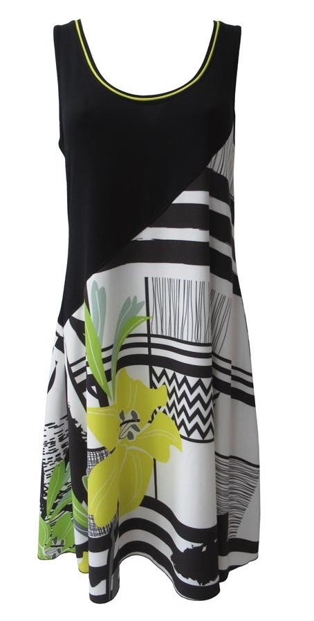 Maloka: Lemon Lime Marble Asymmetrical Bodice Dress/Tunic (Comes In 2 Art Patterns!)