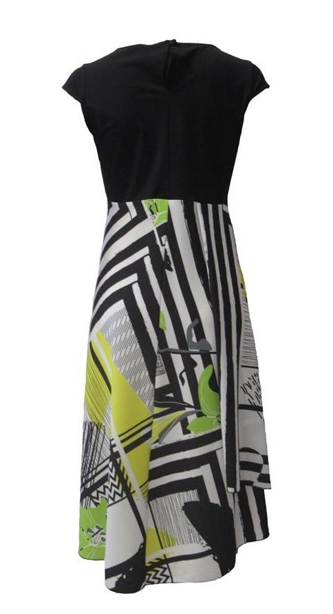 Maloka: Lemon Lime Marble High Waisted Asymmetrical Midi dress