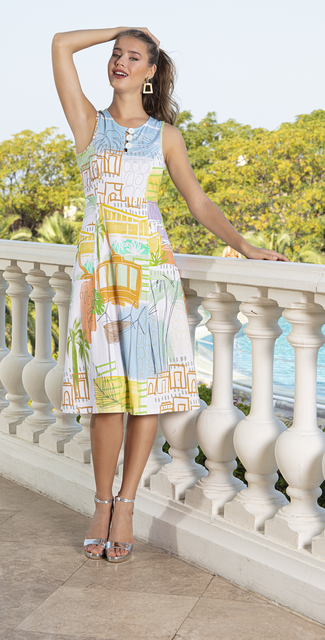 Simply Art Dolcezza: Palm Springs Cityscape Abstract Art Dress (1 Left!) Dolcezza_SimplyArt_20666_N