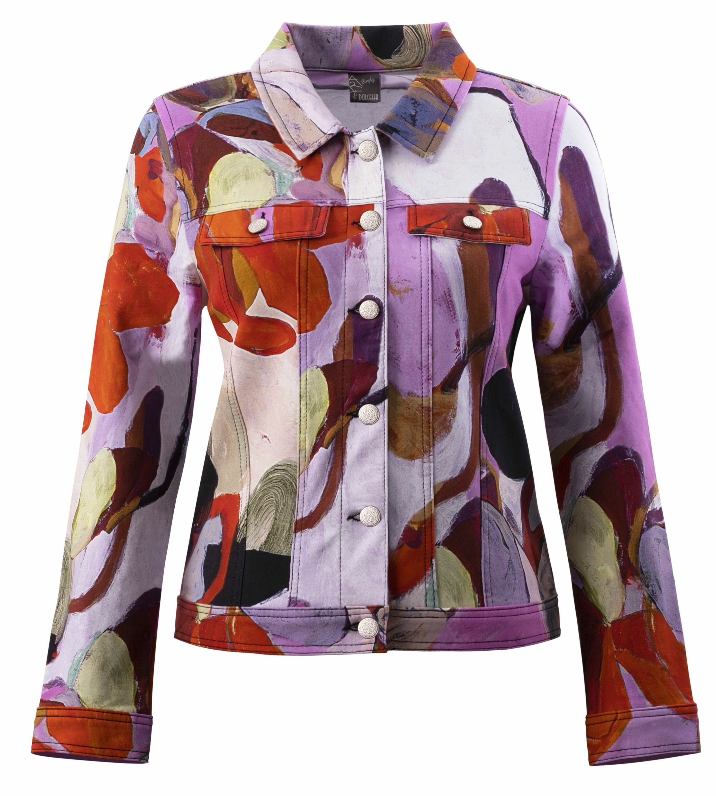 Simply Art Dolcezza: Blooms In Rouge Abstract Art Denim Jacket (1 Left!) DOLCEZZA_SIMPLYART_20726_N1