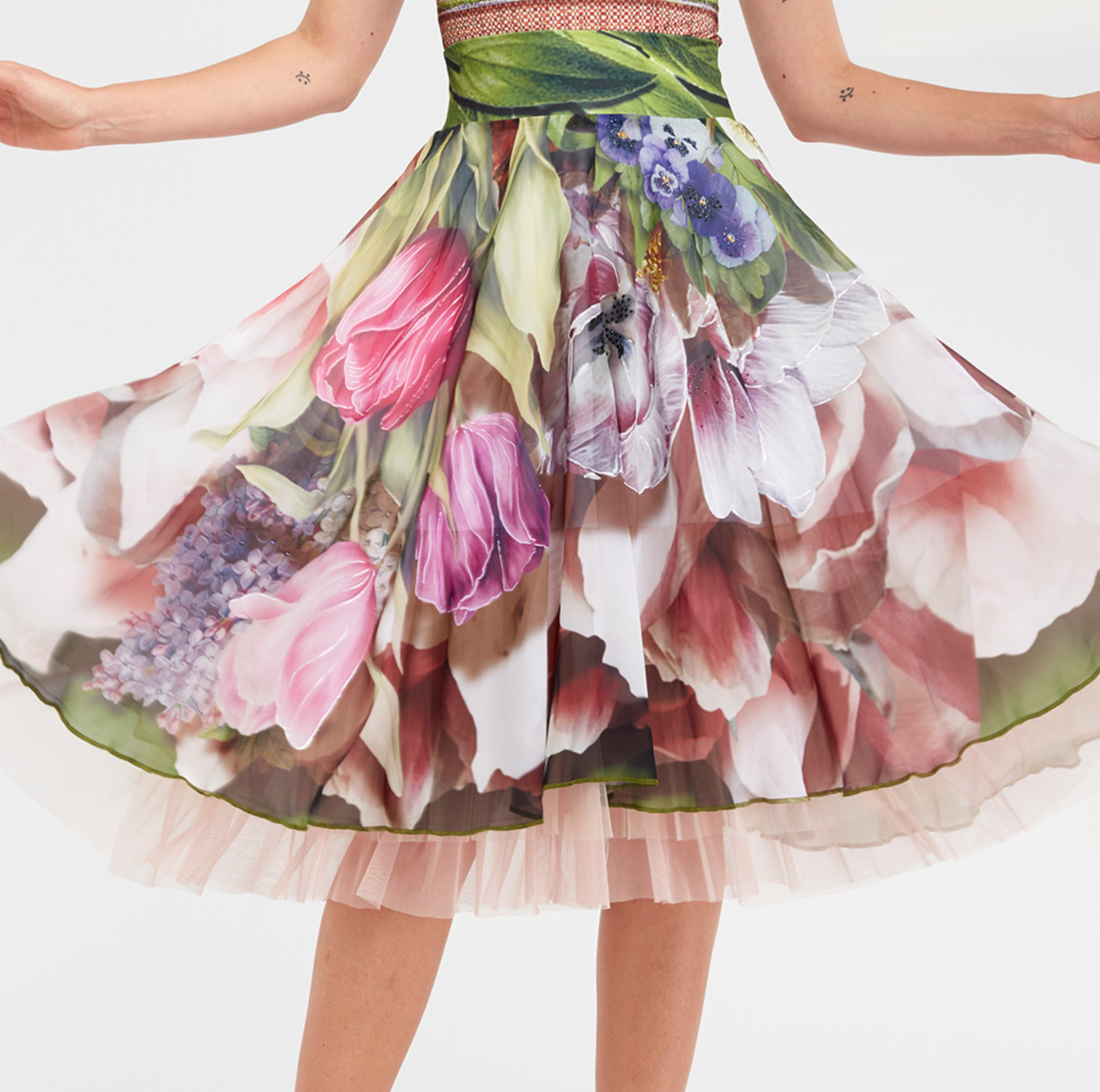 IPNG: Carnations Wrapped In Paradiso A-line Midi Skirt (Some Ship Immed!) IPNG_IPSKS-071_N