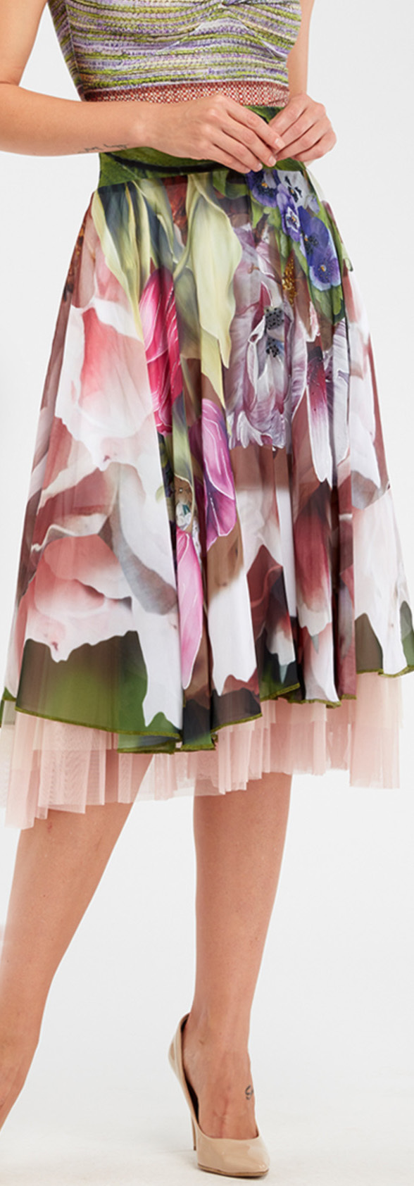 IPNG: Carnations Wrapped In Paradiso A-line Midi Skirt (Some Ship Immed!)