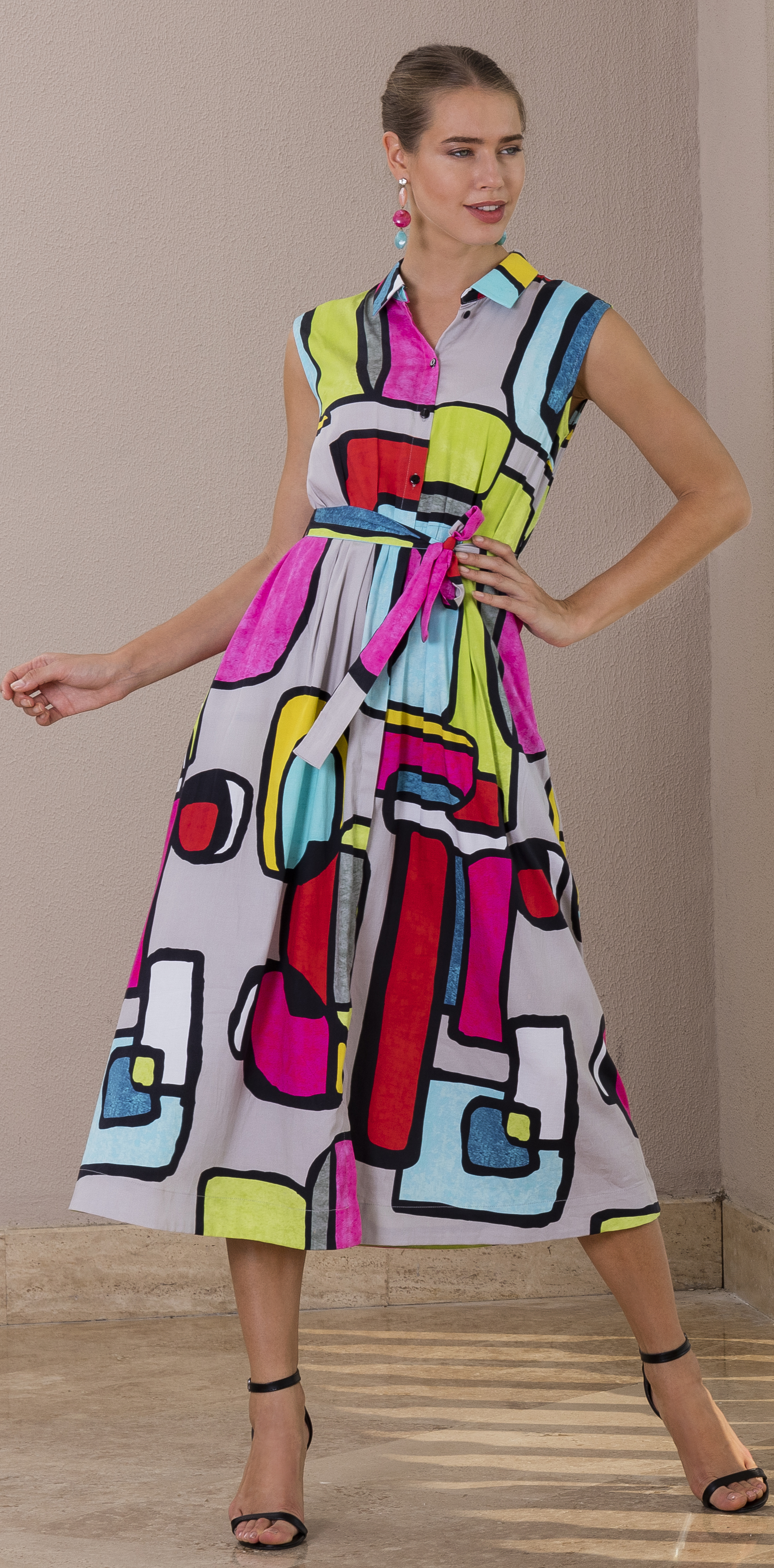 Simply Art Dolcezza: Mid Century Vibrant Romance Abstract Art Shirt Maxi Dress SOLD OUT DOLOCEZZA_SIMPLYART_20637