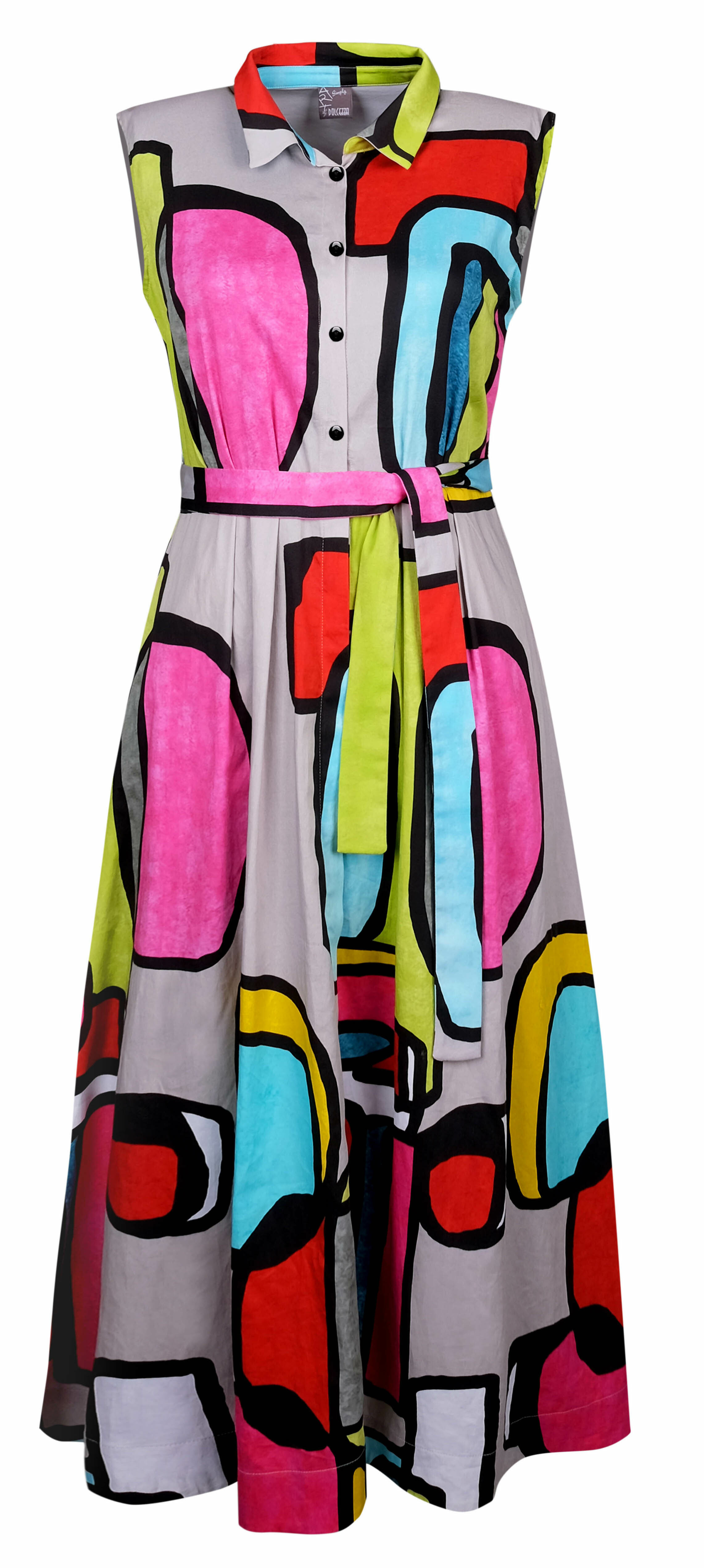 Simply Art Dolcezza: Mid Century Vibrant Romance Abstract Art Shirt Maxi Dress SOLD OUT