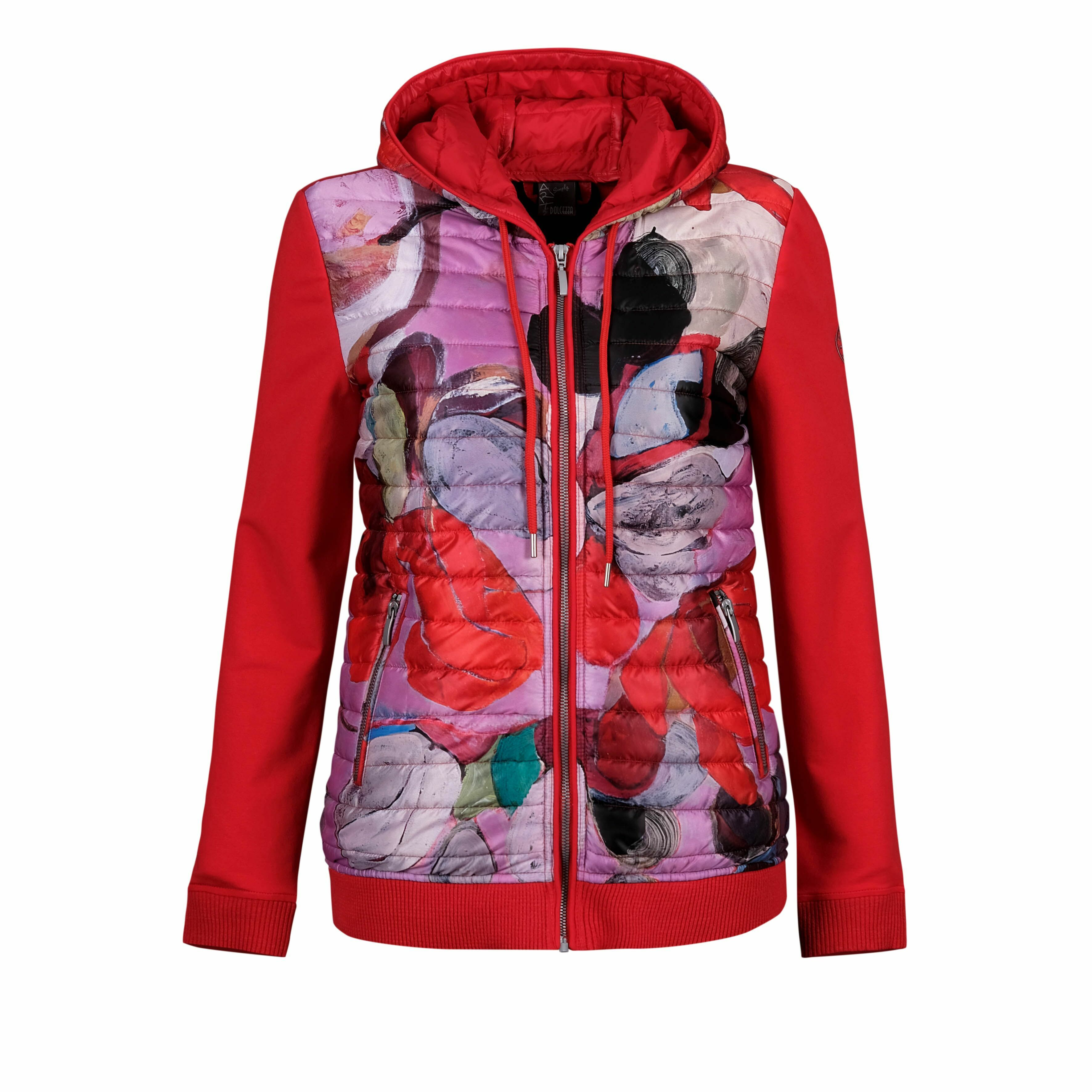 Simply Art Dolcezza: Blooms In Rouge Abstract Art Puff Hoodie Jacket (2 Left!) DOLCEZZA_SIMPLYART_20811_N1