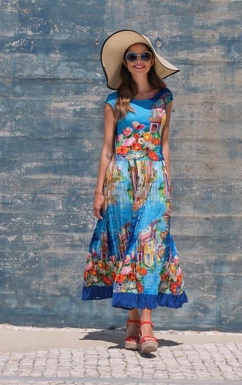 Paul Brial: Colors Of Capri Abstract Art Crinkled Maxi Sundress PB_VENISE_N