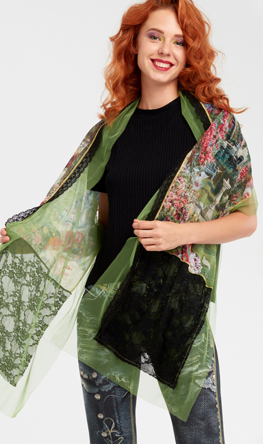 IPNG: In Paradiso Cherry Carnation Scarf (Ships Immed, 1 Left!) IPNG_IPSCA-089_N