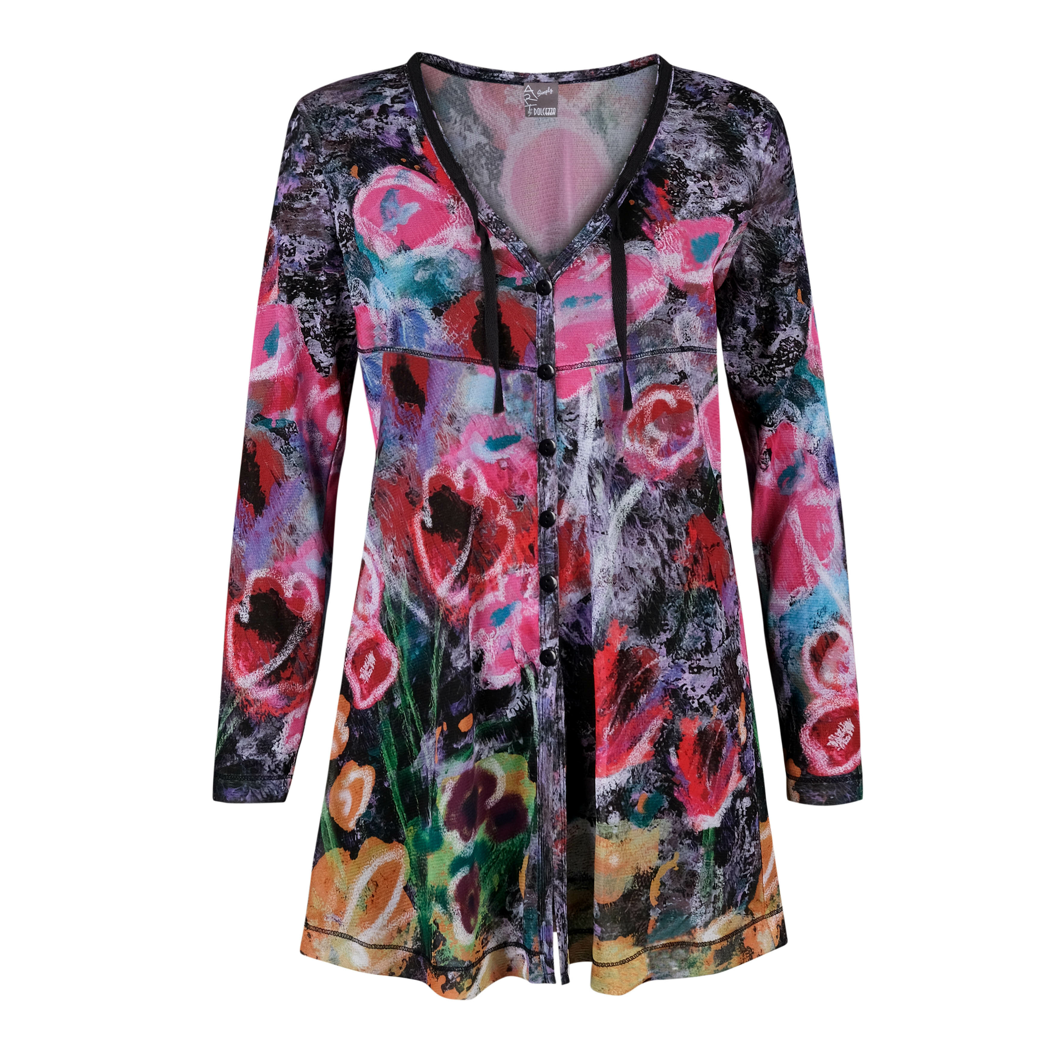 Simply Art Dolcezza: Wildest Flowers Abstract Art Tunic Cardigan (1 Left!) Dolcezza_SimplyArt_20604