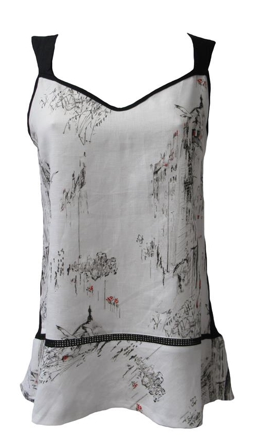 Maloka: A Day In Paris Abstract Art Linen/Cotton Tunic