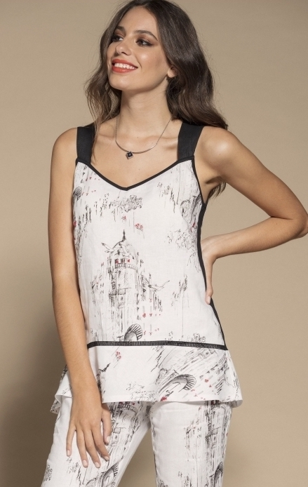 Maloka: A Day In Paris Abstract Art Linen/Cotton Tunic MK_BRIENNE