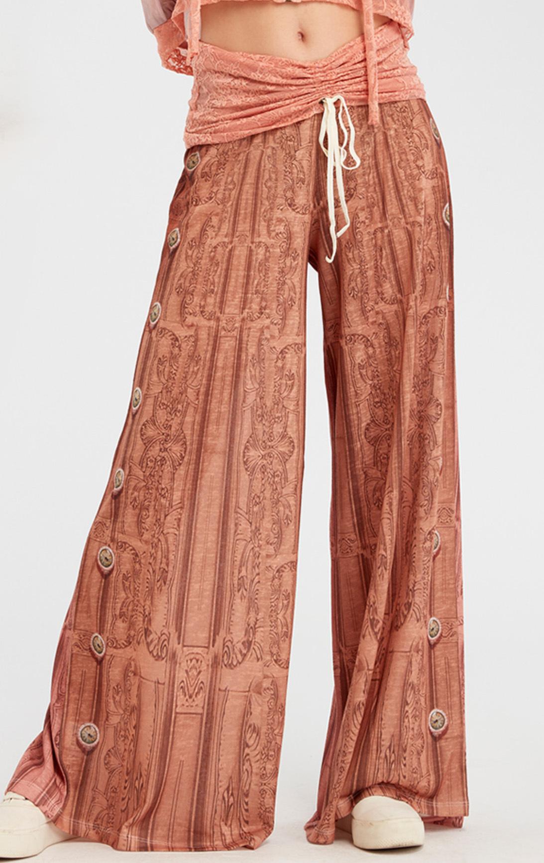 IPNG: Inna Me Royal Rose Clocks Illusion Comfort Drape Pants IPNG_TIMYPD-063
