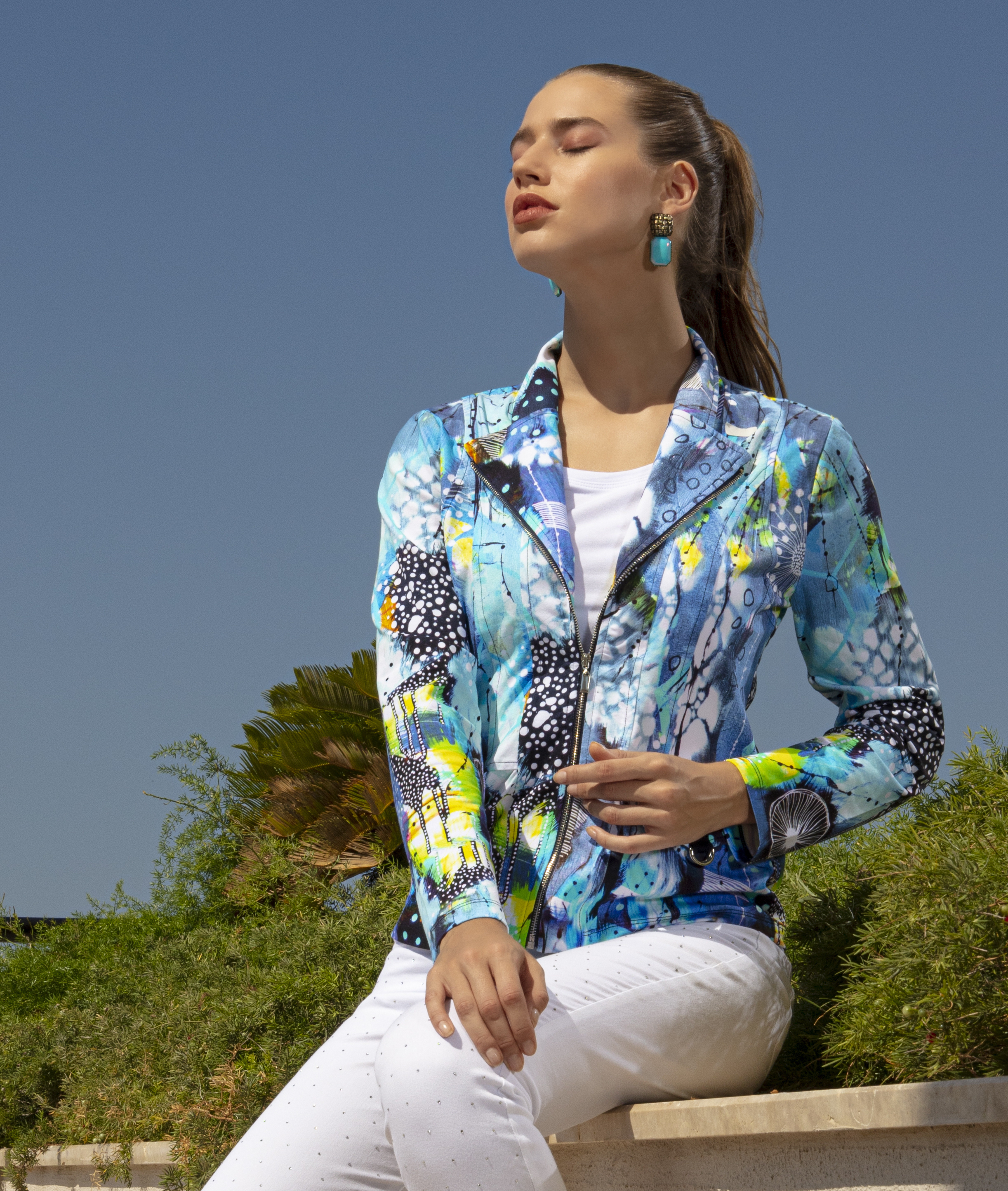 Simply Art Dolcezza: The Love of Blue Happiness Abstract Art Zip Jacket SOLD OUT DOLCEZZA_SIMPLYART_20628