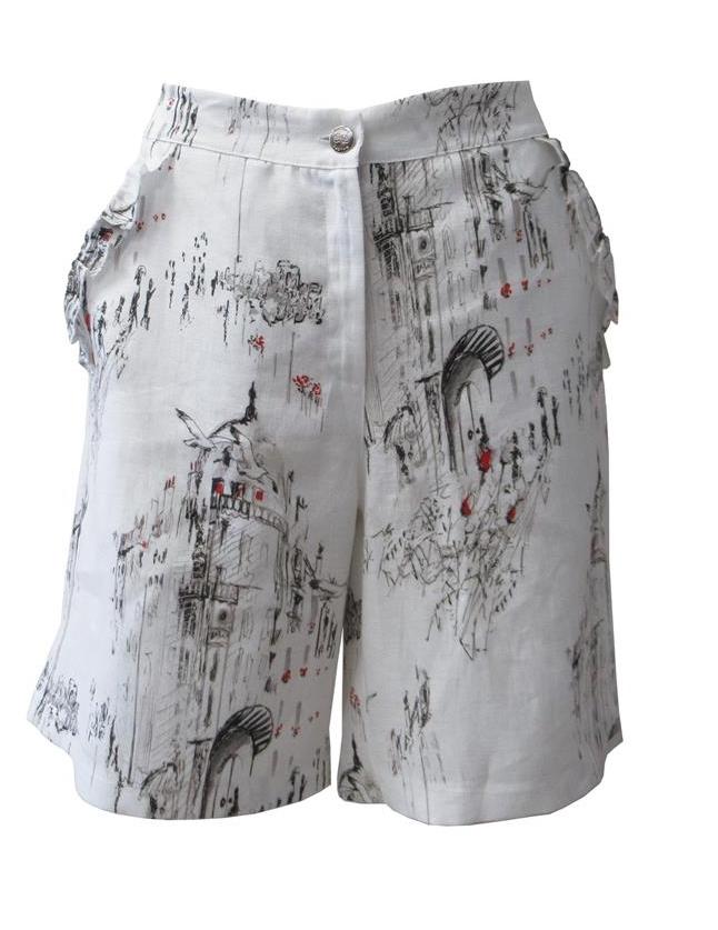 Maloka: A Day In Paris Abstract Art Linen/Cotton Shorts MK_BIANKA
