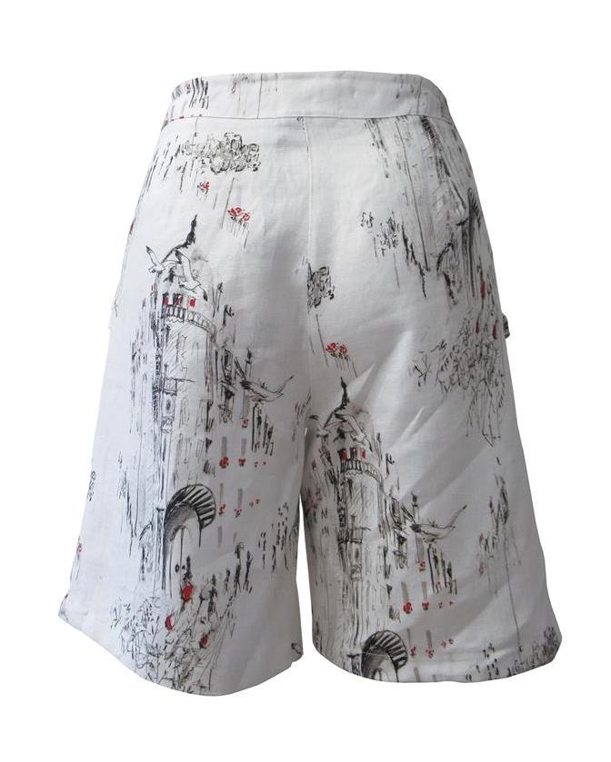 Maloka: A Day In Paris Abstract Art Linen/Cotton Shorts