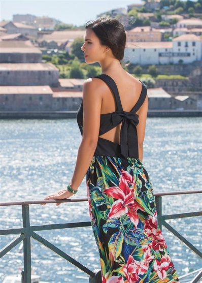 Paul Brial: Pleated Bow Back Cutout Maxi Dress (Few Left, Comes in Black & White!) PB_AMARYLIS_N4