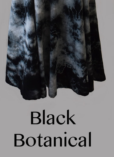 Luna Luz: Short Sleeve Cross Over Bodice Tie Dye  Long Dress (Ships Immed: Black Botanical & Navy Shoreline!)