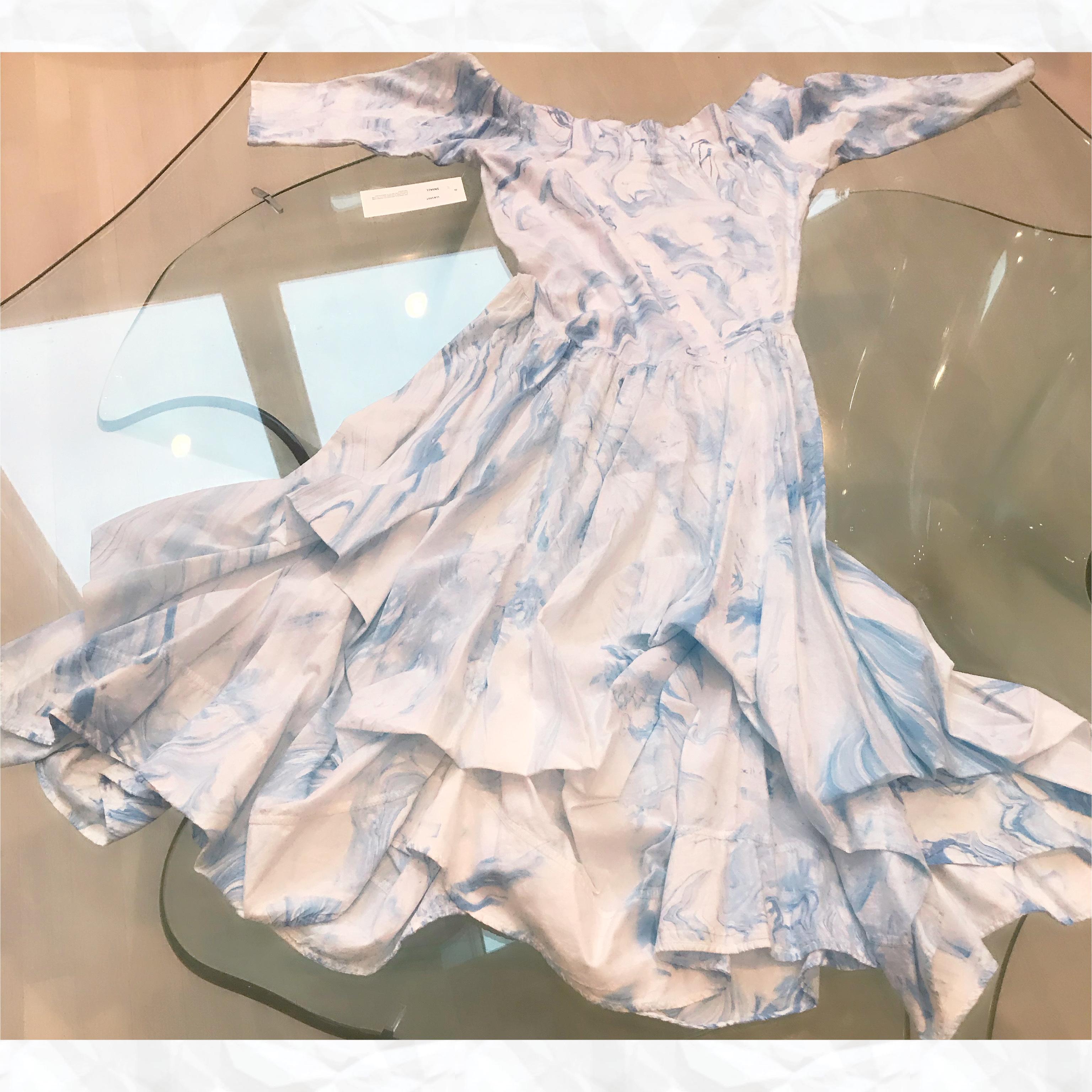 Luna Luz: Tied & Dyed Off The Shoulder Godet Dress (Ships Immed, 1 Left in Medium!) LL_393T_BLUE_MARBLE