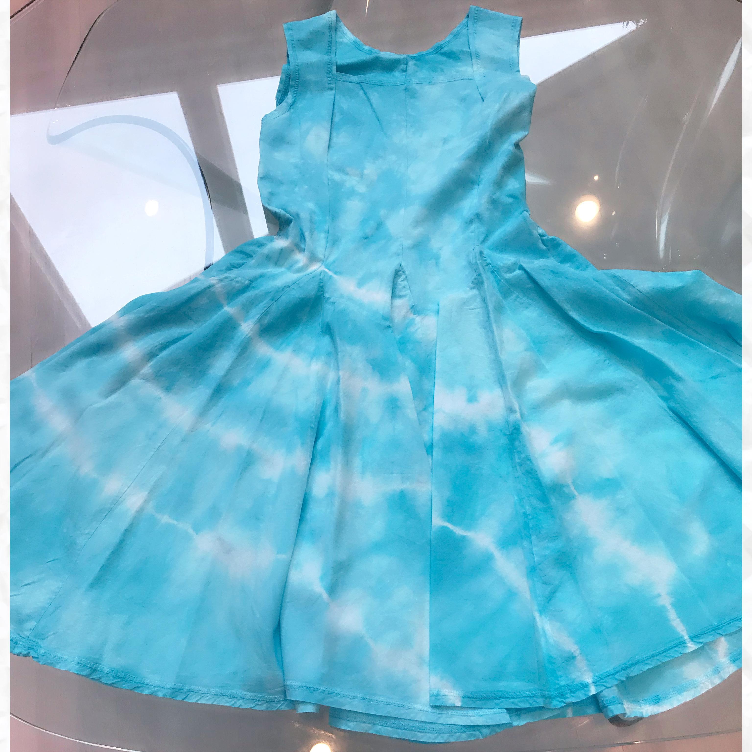 Luna Luz: Square Neck Godet Dyed Tank Dress (Ships Immed in Aqua Shoreline, 2 Left!) LL_B5533T_AQUA_SHORELINE