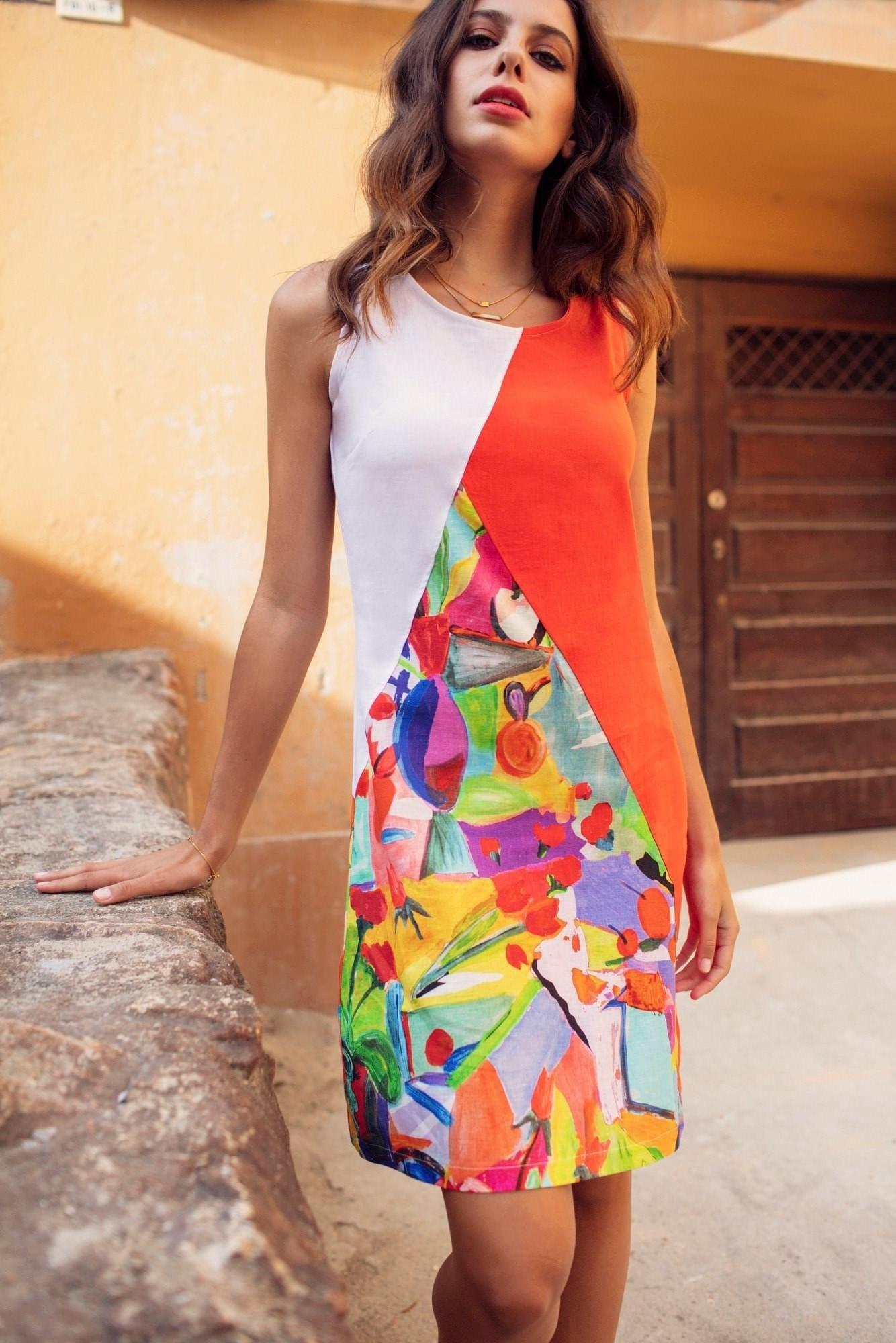 Maloka: Apples & Cherries Abstract Art Linen Dress MK_CIERA_N1