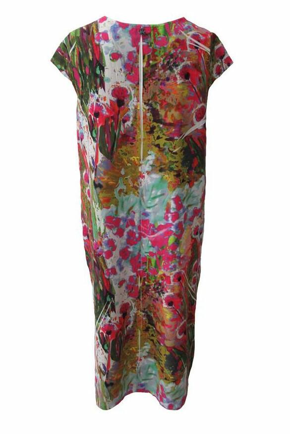 Maloka: Pink Isles Abstract Art Bow Midi Dress (Few Left!)