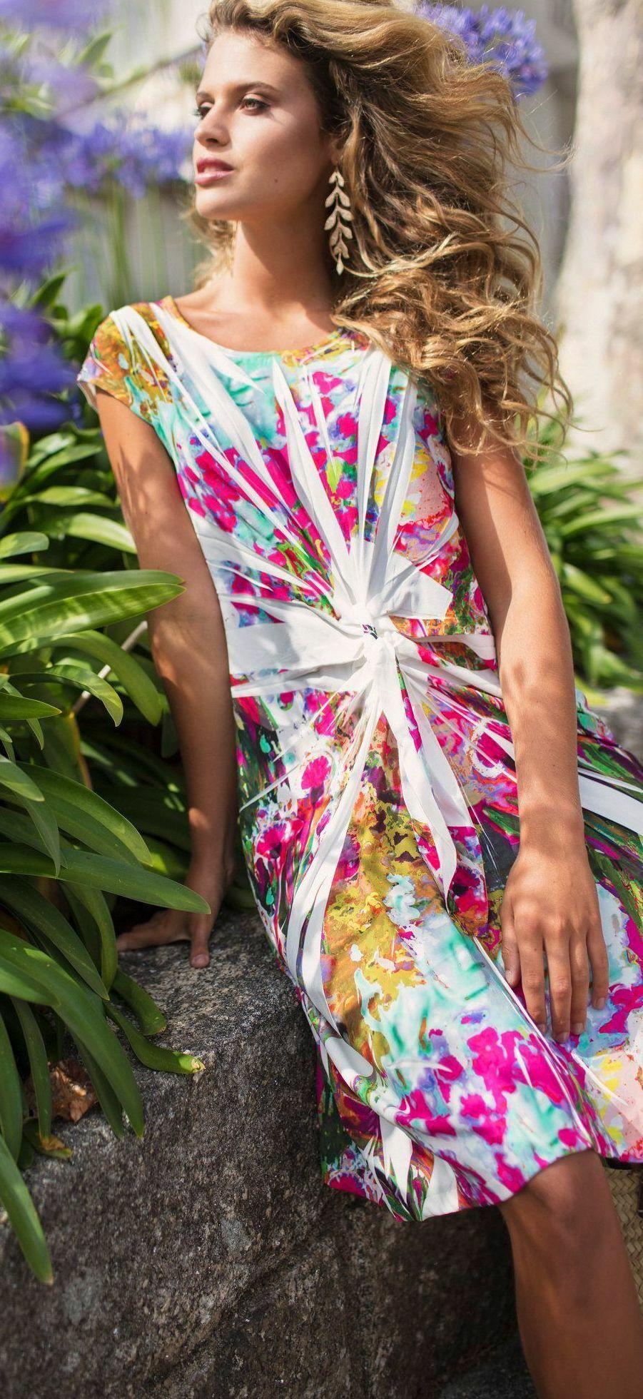 Maloka: Pink Isles Abstract Art Bow Midi Dress (Few Left!) MK_FLEURI_N