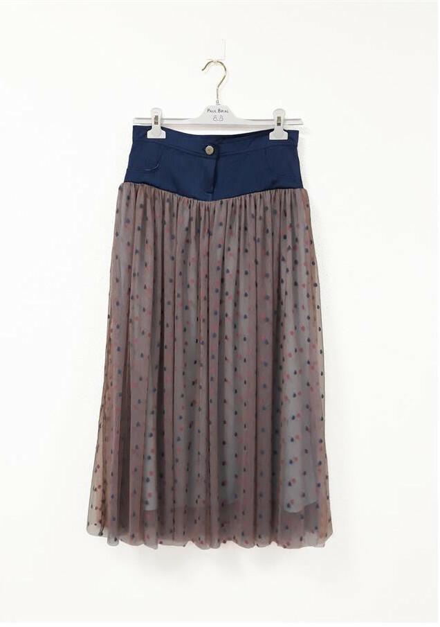 Paul Brial: Confetti Stretch Denim High Waisted Mixed Media Midi Skirt PB_CONFETIS