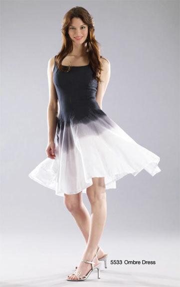 Luna Luz: Godet Dyed Black/White Ombre Square Neck Dress SOLD OUT LL_5533O_BW_N1