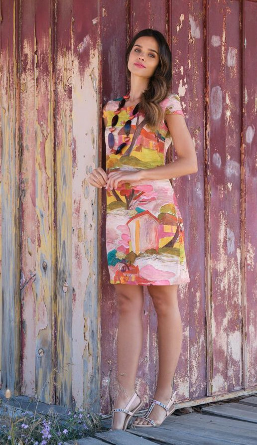 Paul Brial: Peacock Landscape Original Abstract Art Dress