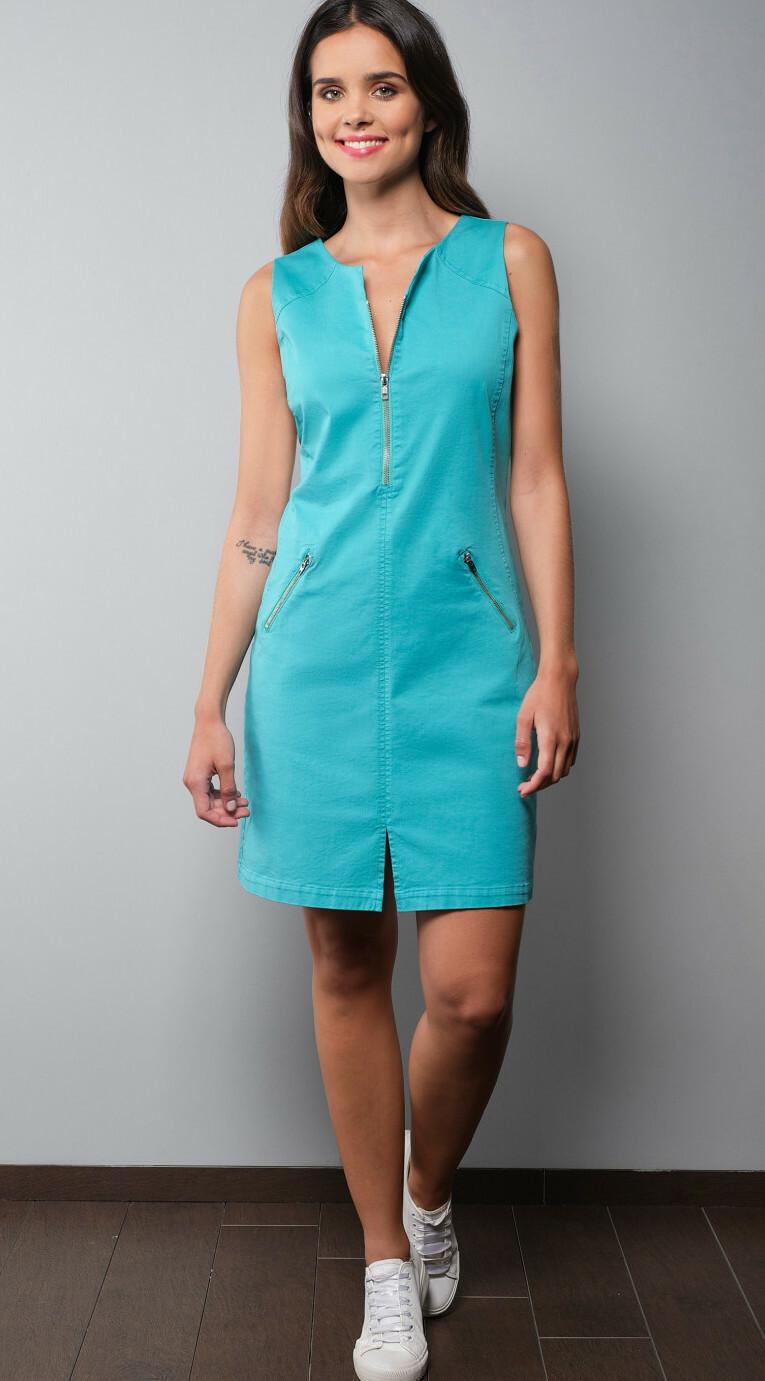 Paul Brial: Stretch Denim Desire Zip Dress In Island Colors (More Colors!) PB_DESIR