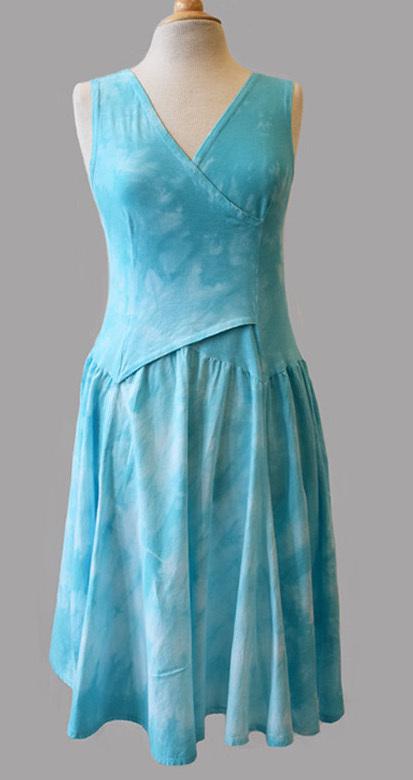 Luna Luz: Cross Over Bodice Tie Dye Midi Dress (In Aqua Shoreline, Zest - Ships Immed Few Left!) LL_5516_AS_Z
