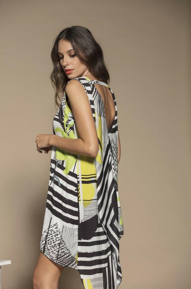 Maloka: Lemon Marble Beauty Abstract Art Beach Tunic/Dress