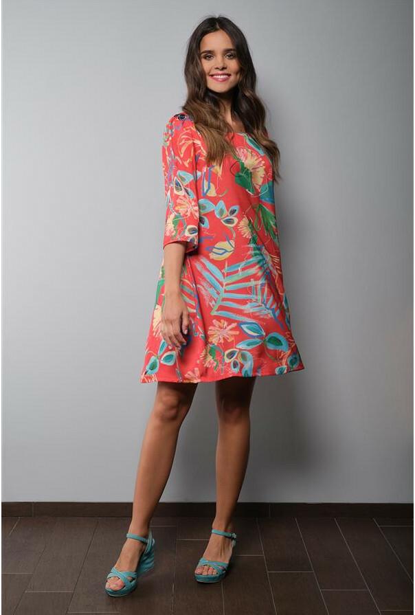 Paul Brial: Cool Hawaiian Cotton/Linen Midi Dress