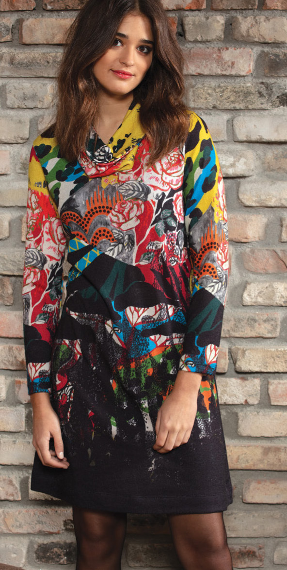 Maloka: Jungle Party Abstract Art Sweater Dress MK_GENNA_TIGER_N