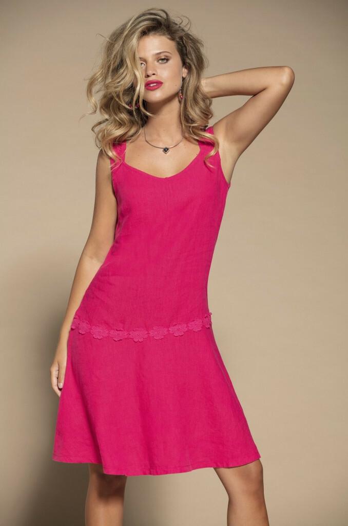Maloka: Floral Wrapped Waist Flared Linen Dress MK_RAYBAN