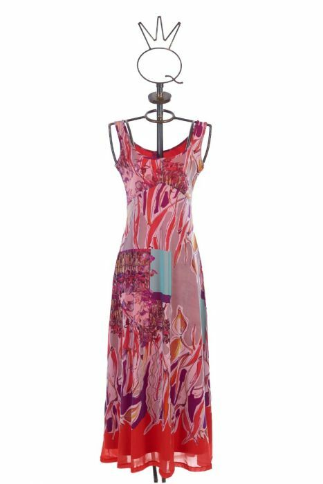 Save The Queen: Purple Lilacs & Pink Roses On Fire Maxi Dress (1 Left!) STQ_485
