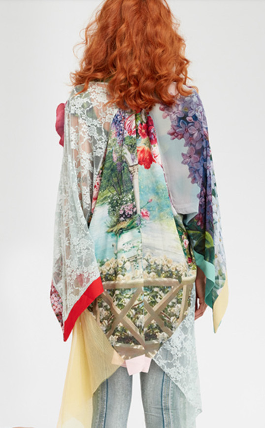 IPNG: In Paradiso Cherry Carnation 3D Illusion Kimono Cardigan IPNG_IPKC-090