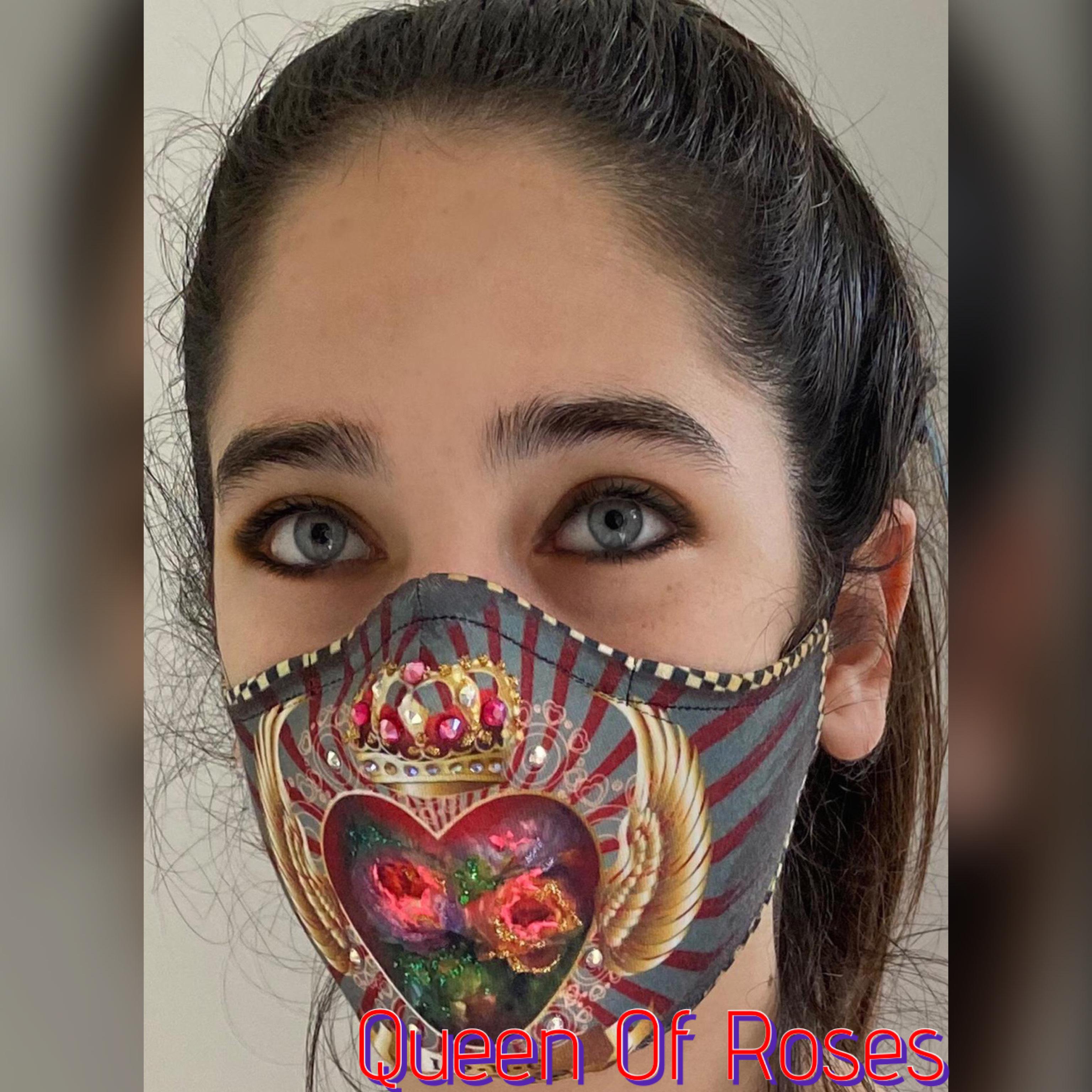 IPNG: Gingham Rose Fairytale Mask (More Art Patterns, Ships Immed!)