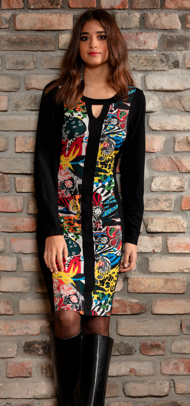 Maloka: Jungle Party Keyhole Abstract Art Contrast Dress MK_GIANE_N1