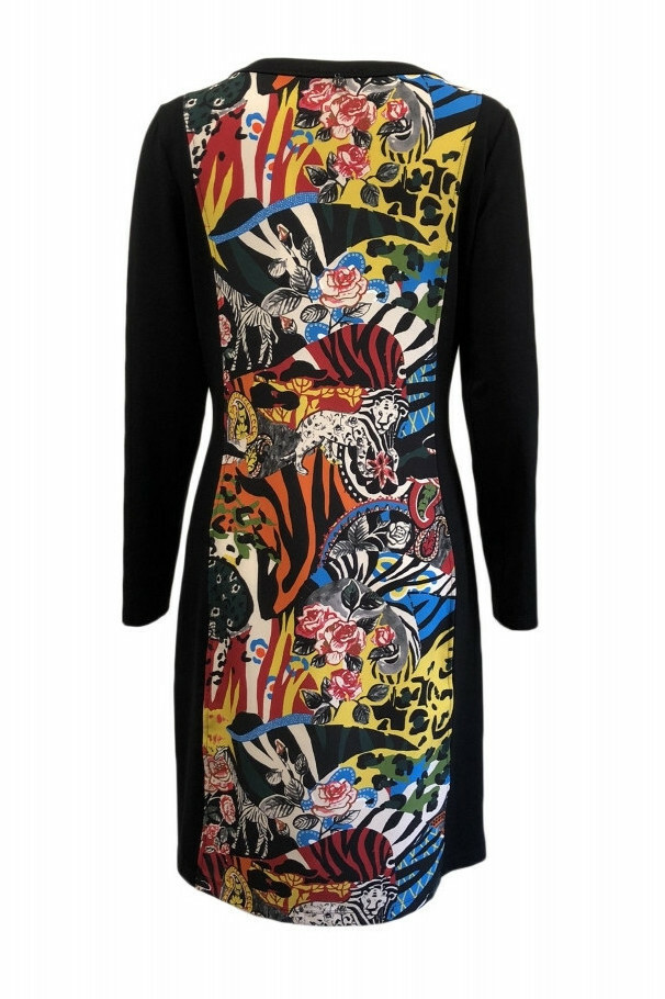 Maloka: Jungle Party Keyhole Abstract Art Contrast Dress