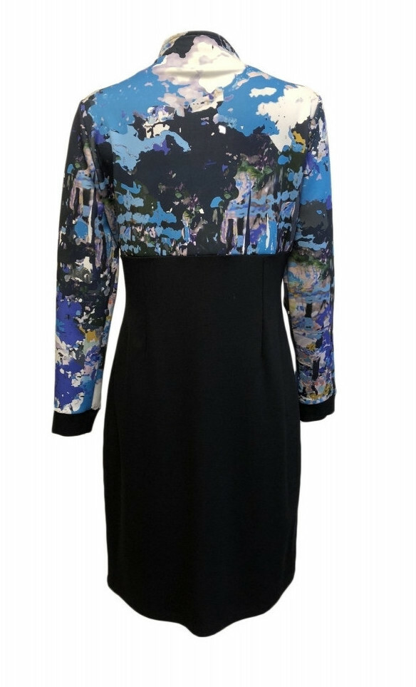 Maloka: Blue Beauty Abstract Art High Waisted Midi Dress