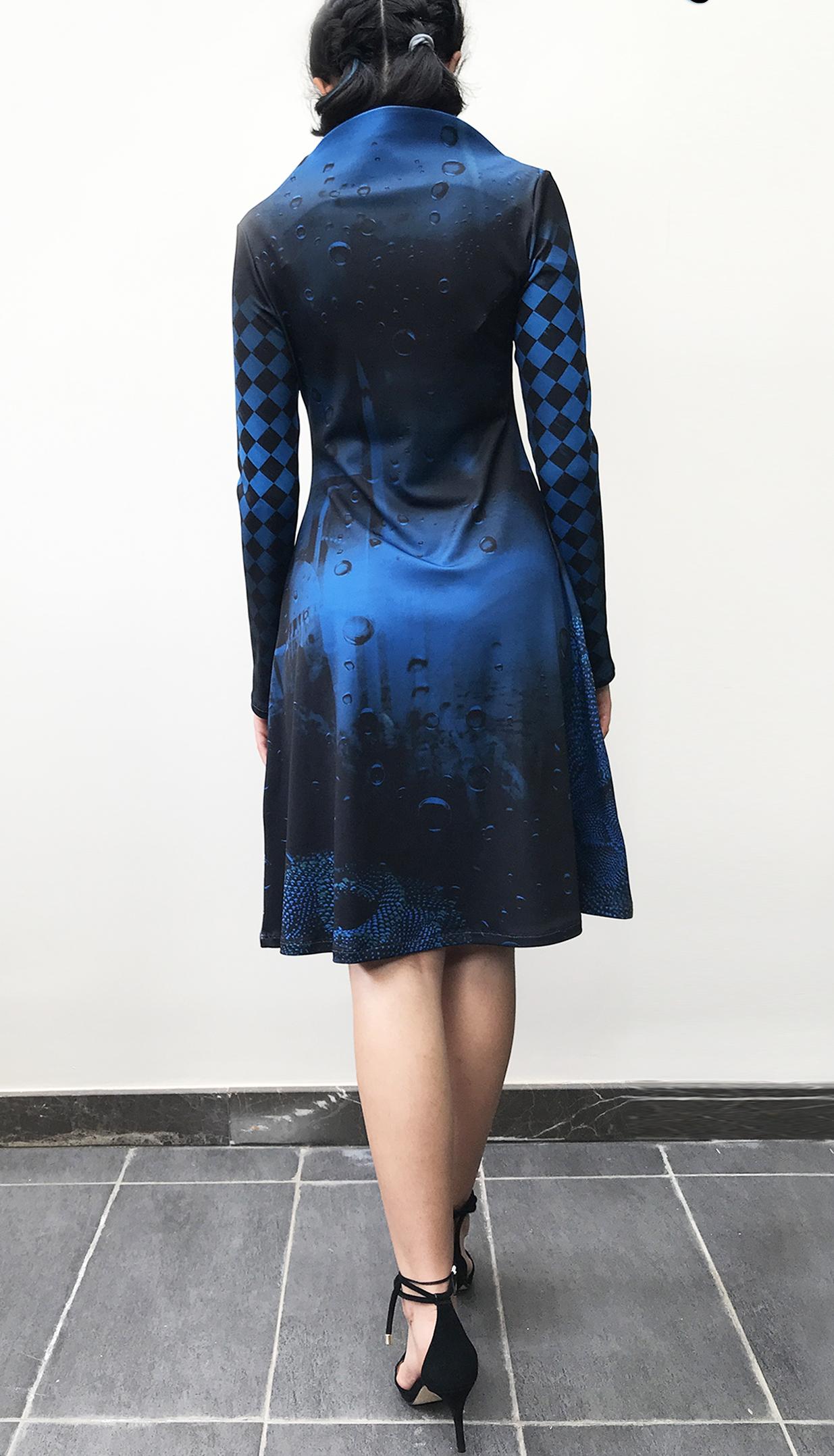 IPNG: Turquarium Jeweled Underwater Illusion Scene Midi Dress (Some Ship Immed!)