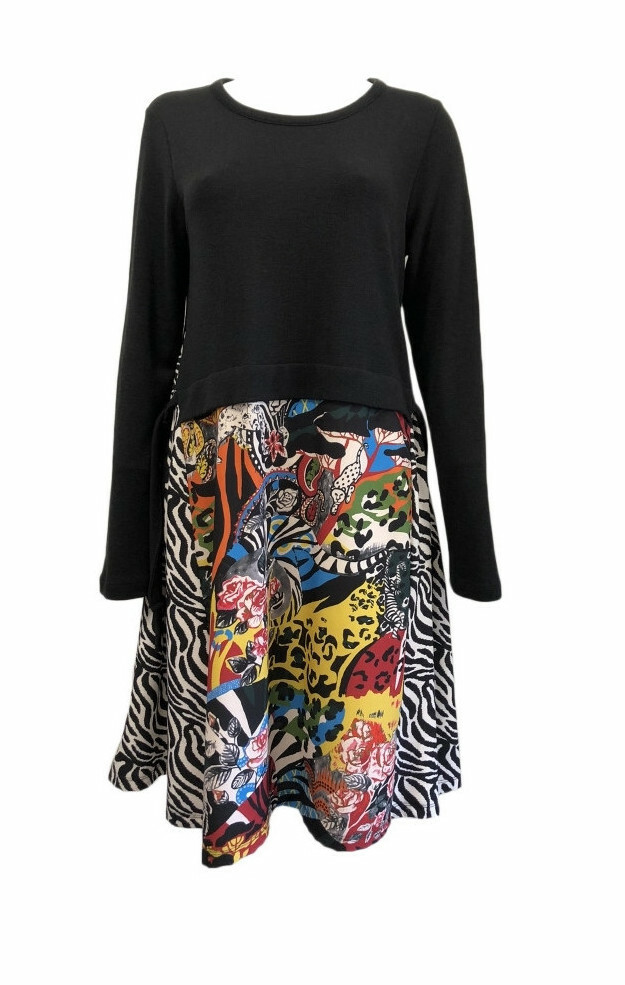 Maloka: Jungle Party Abstract Art Mixed Media Sweater Dress