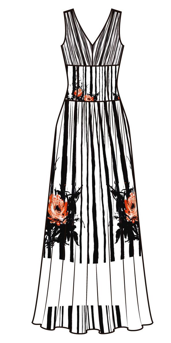 Paul Brial: Wild Orange Rose Hem Plunge Neck Flare Tuxedo Gown (Few Left!)
