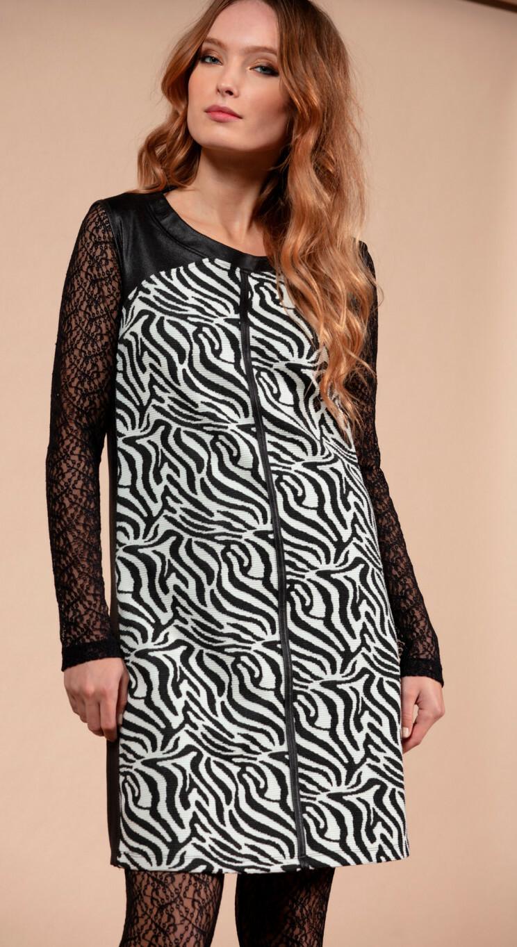 Maloka: Zebra Safari Sleeveless Flared Dress MK_ZALMA