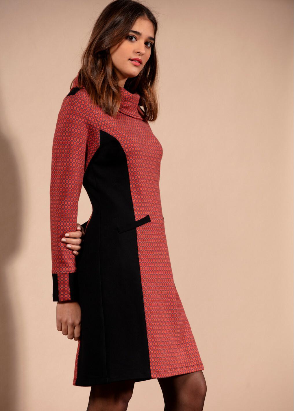 Maloka: Sedona Rock Jacquard Contrast Dress MK_FLOWER_N2