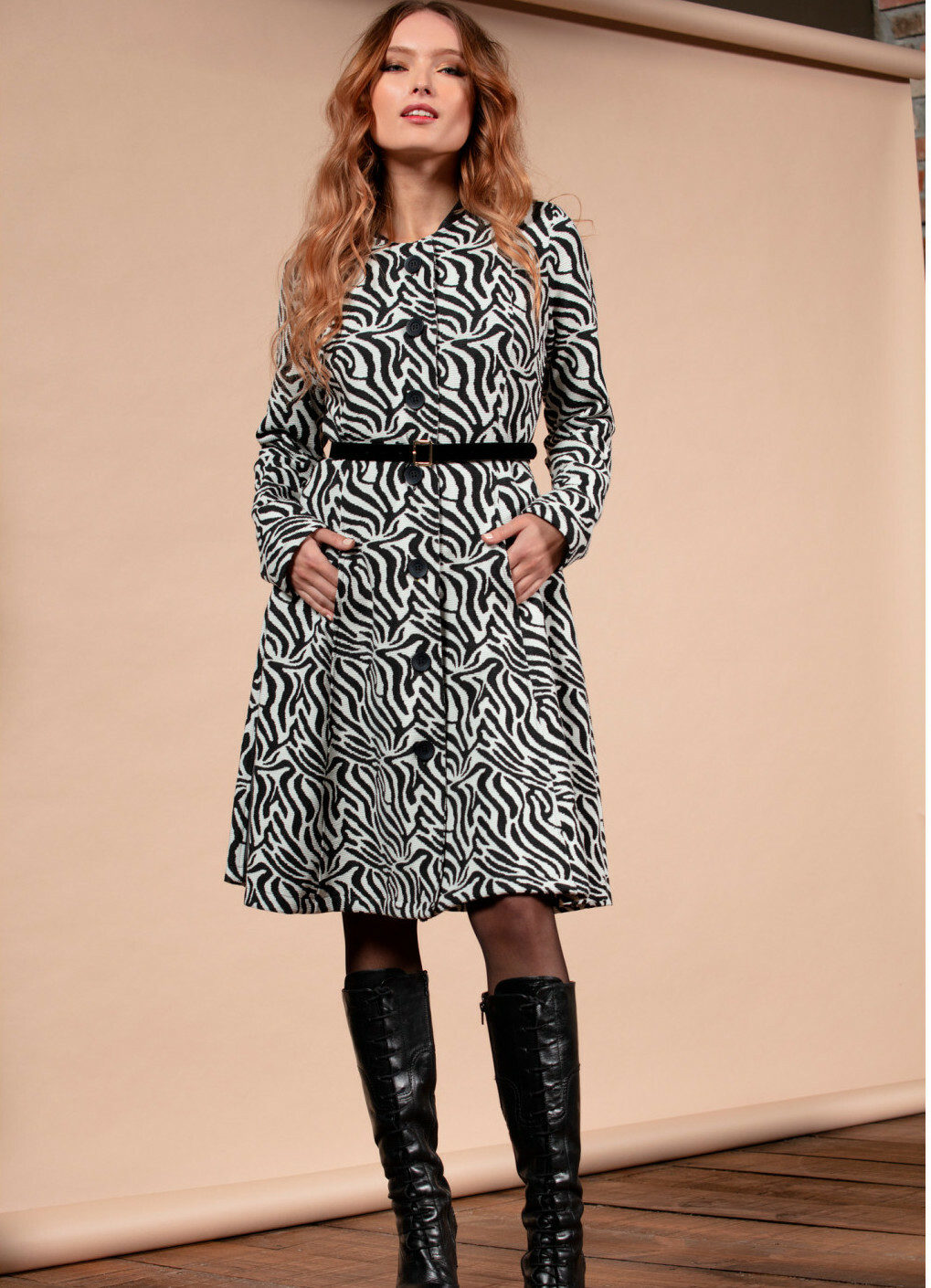 Maloka: Zebra Safari Flared Coat MK_ZOEY
