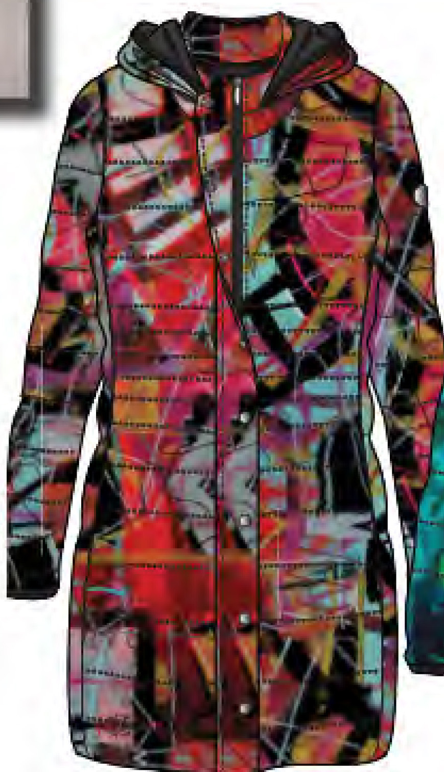 Simply Art Dolcezza: Red 3 Graffiti Abstract Art Coat (Removable Hood!)