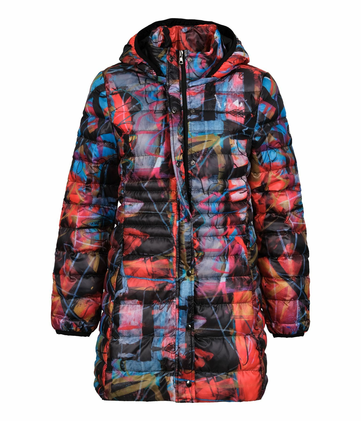 Simply Art Dolcezza: Red 3 Graffiti Abstract Art Coat (Removable Hood!) Dolcezza_Simplyart_70841