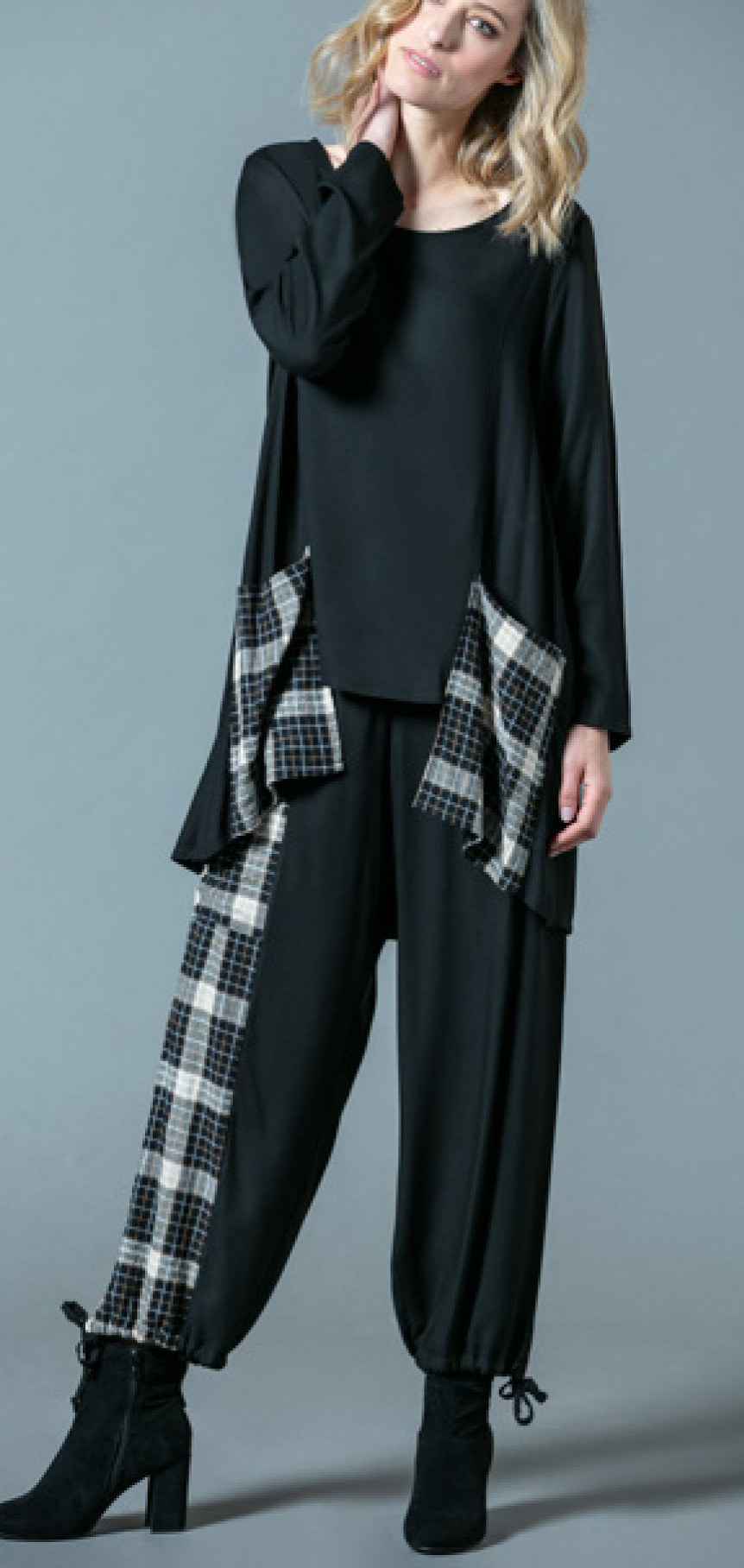 G!oze France: Play Checkerboard Asymmetrical Culotte Pant