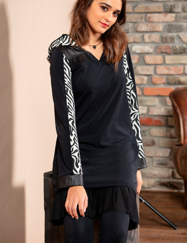 Maloka: Sporty Zebra Hooded Tunic/Dress MK_ZOE_sporty_tunic_N